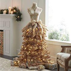 Mannequin Christmas Tree, Dress Form Christmas Tree, Gold Christmas Tree, Christmas Tree Themes, Holiday Tree, Christmas Holidays, Holiday Decor, Xmas Trees, Prim Christmas