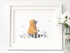 Raincoat Raccoon   : Animal and Floral Inspired by NinaStajner