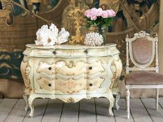 Bombe chest - Typical of the flamboyant rococo style, bombé commodes add a sexy, feminine touch to any room. All the rage during the reign of Louis XV and his royal mistress Madame de Pompadour, rococo style can be summed up in one wor Decor, French Decor, Furniture, Decorating Basics, Painted Furniture, Beautiful Furniture, Country Decor, French Furniture, Home Decor
