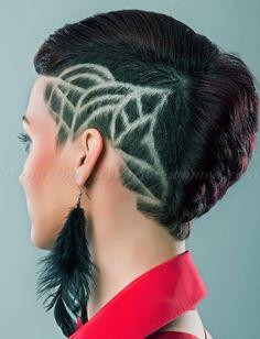 short undercut hairstyles for women - hair tattoo for women