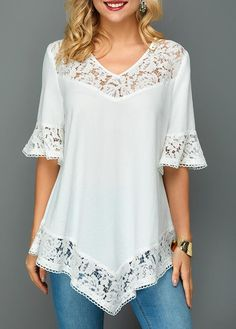 Stylish Tops For Girls, Trendy Tops, Trendy Fashion Tops, Trendy Tops For Women - Lace Patchwork Asymmetric Hem Flare Sleeve Blouse Best Picture For outfits hombre For Your Taste - Stylish Tops For Girls, Trendy Tops For Women, Blouses For Women, Trendy Fashion, Boho Fashion, Fashion Dresses, Fashion Top, Ladies Fashion, Dress Outfits
