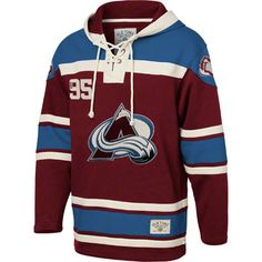 Colorado Avalanche Burgandy Old Time Hockey Lace Up Jersey Hooded Sweatshirt
