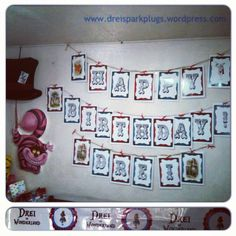 Alice in Wonderland bunting - party design by Drei Spark Plugs Theme party Children's party Online shop Little Boy And Girl, Little Boys, Boy Or Girl, Party Online, Party Giveaways, Spark Plug, Childrens Party, Bunting, Alice In Wonderland