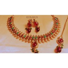 royal ruby necklace in polki - Online Shopping for Necklaces by Runjhun Designer Jewellery