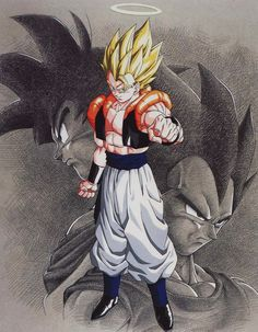 Gogeta [ Goku / Vegeta fusion ].. Scan from Dragon Ball Artbook [ Golden Warrior ]