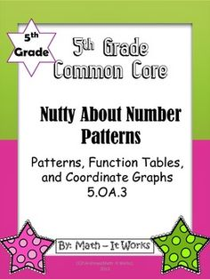 A great supplemental unit to teach number patterns. Help your students work through finding patterns, completing function tables and beginning grap. Teaching Numbers, Teaching Math, Teaching Resources, Math 5, 5th Grade Math, Number Patterns, Teachers Corner, Common Core Math, 5th Grades