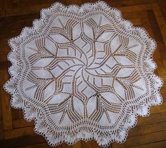 Vintage Knitted Crochet Lace Tablecloth 365 93 cm by Sweetdoily, $35.00