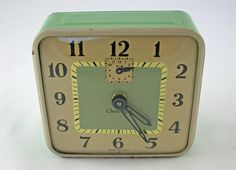Vintage Alarm Clock in Mint Green and Cream