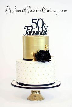Gold & Black 50 & Fabulous Cake www.sweetpassionc… Gold & Black 50 & Fabulous Cake www.sweetpassionc… Gold & Black 50 & Fabulous Cake www.sweetpassionc… Gold & Black 50 & Fabulous Cake www. Elegant Birthday Cakes, 60th Birthday Cake For Ladies, Birthday Cake For Women Elegant, Gold Birthday Cake, 70th Birthday Parties, Cool Birthday Cakes, Birthday Woman, 60th Birthday Ideas For Women, 50 Birthday