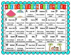 ABC Countdown to Summer! A different activity for each letter of the alphabet to use during the last 26 days of school. FREE on TpT!