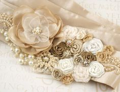 Bridal Sash  Dominique  Made to Order with Handmade by SolBijou, $185.00