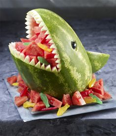 How funny would this be for a kid's pool party?! Shark watermelon dessert boat #ad