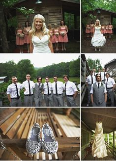 I like these bride/groom foreground, bridal party background pictures.