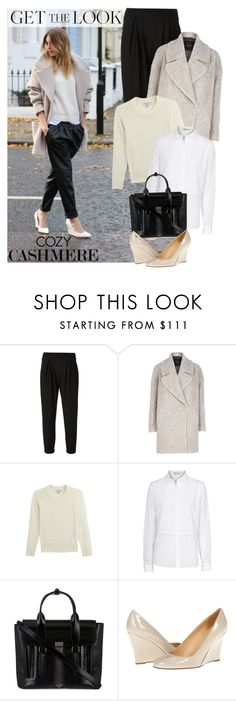 """""""Get The Look: Oversized Coat with Cashmere Pullover"""" by junglover ❤ liked on Polyvore featuring Helmut Lang, River Island, Burberry, T By Alexander Wang, 3.1 Phillip Lim, Kate Spade, GetTheLook and cozycashmere"""