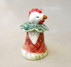 Chicken Hen in Royal Woodland Robe Fine Art Ceramic by Jillatay