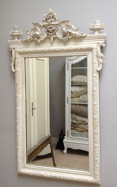 French antique crested mirror. mirror French country traditional