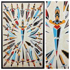 24x36 inch Traditional Dagger Tattoo Flash by Steve Rieck Las Vegas