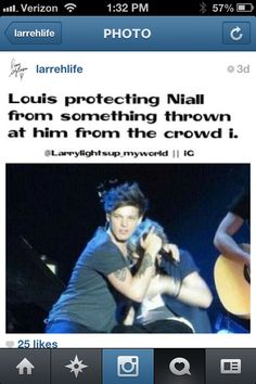 So cute and protective.... WHO WOULD THROW SOMETHING AT NIALL?!?!?!!