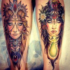 Portrait leg tattoos