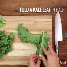 """Improve your knife skills and follow this technique to learn how to turn kale into fine ribbons! """""""