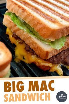 Das Big Mac Sandwich aus diesem Rezept werdet ihr lieben, versprochen! Ich bin zwar überhaupt kein Fan von McDonald's, aber wenn, dann habe ich dort am liebsten den Big Mac gegessen. Wie gut, dass man den Burger ziemlich einfach auch zuhause als Sandwich nachmachen kann - wie das Original mit zwei Patties, Käse und der legendären Sauce. #optigrill #bigmac #mcdonalds #kontaktgrill #rezept #fleisch #sandwich