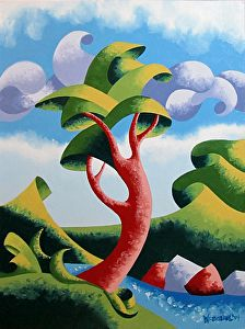 """Mark Webster Artist - Abstract Geometric Landscape Oil Painting 12x9"""" Oil on Canvas Panel."""