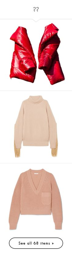 """❄️"" by aals2 ❤ liked on Polyvore featuring outerwear, jackets, coats, coats & jackets, tops, sweaters, beige, fringe sweater, ribbed knit sweater and beige sweater"