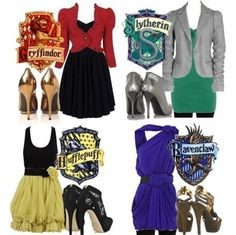 Ravenclaw is so fashion forward, I love Hufflepuff's shoes but as always, Gryffendor looks truly put together and I love the slytherin outfit :)