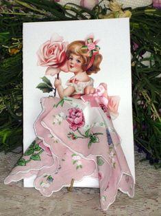 Little Lady Rose Keepsake Hanky Card by onceuponahanky on Etsy: