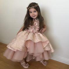 My sweet angel Victoria👸🏼 in custom made dress👸🏼🌸✨💎 Baby Girl Frocks, Baby Girl Party Dresses, Frocks For Girls, Dresses Kids Girl, Birthday Dresses, Cute Dresses, Girl Outfits, Flower Girl Dresses, Dress Anak