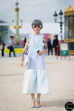 New post on http://www.styledumonde.com/ with #Chinese #stylist Fil XiaoBai #FilXiaoBai @fil xiaobai before #Valentino #ss14 #fashionshow at #parisfashionweek #pfw #pfwss14 wearing #XiouLi #silicon #dress #outfit #ootd... #streetstyle #streetfashion #streetchic #fashion #mode #style #Paris #weloveit #picoftheday #tattoo #dyedhair #bestoftheday #lookoftheday. Photo by #styledumonde