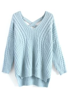 Sunny Afternoon V-neck Sweater in Pastel Blue - Retro, Indie and Unique Fashion