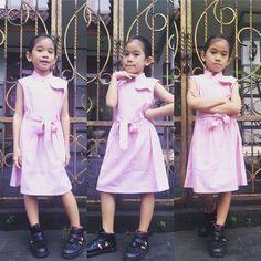 Lapaxa Pink dress with belt material high quality Cotton  Size : 6  #dressforkids Model : lavida yuthiana faizah