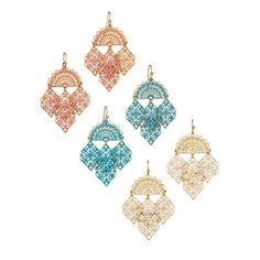 Summer Breeze Collection Earrings. Avon. Metallic drop earrings with openwork design brushed with color. The earrings have a curved (fan-shaped) upper with 4 diamond-shaped castings hanging off of it. Regularly $14.99.  FREE shipping with any $40 online Avon purchase.  #CJTeam #Avon #Style #Sale #Jewelry #Fashion #C17 #Gift #Earring #SummerBreeze #Avon4Me Shop Avon jewelry online @ www.TheCJTeam.com