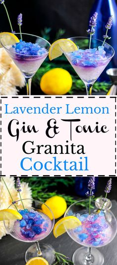 Lavender Lemon Gin & Tonic Granita Cocktail craft cocktail, craft cocktails, cocktails, granita, tonic, simple syrup, lemon juice, magic blue ice, dessert, easy, summer recipe,
