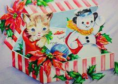 #retrochristmas, #christmaskitten, #babykitten, Vintage Christmas Card, Retro Christmas Card, #christmasgift, #holidaysnowman