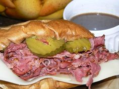 French Roll Dipped in Au Jus, Stuffed with Juicy Pastrami and Layered with Swiss Cheese, Mustard and Dill Pickle Chips.