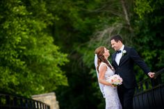 Couple shares a laugh during their wedding photo session at the Worth Water Reclamation Park.