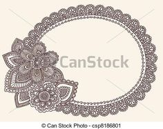 Vector - Lace Doily Henna Frame Vector - stock illustration, royalty free illustrations, stock clip art icon, stock clipart icons, logo, line art, EPS picture, pictures, graphic, graphics, drawing, drawings, vector image, artwork, EPS vector art