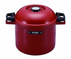 TIGER NFH-G450 Non-Electric Thermal Slow Cooker 4.75qts / 4.5L, Red – KITCHEN APPLIANCES