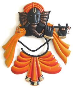 Musician Ganesha Playing Flute - Iron Craft Wall Hanging for Home Decor