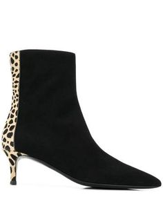 Black leather and pony fur leopard ankle boots from Giuseppe Zanotti featuring a pointed toe, a side zip detail and a mid-heel Leopard Ankle Boots, Black Leather Boots, Black Ankle Boots, White Wedge Sandals, Tan Wedges, Shoe Boutique, Luxury Shoes, Blue Suede, Giuseppe Zanotti