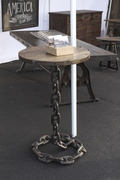 Trading Post 1908 | Antique, Vintage, Handmade Market www.tradingpost1908.com Antique Booth Decor and Display, Chain Furniture, Rustic Industrial Furniture, Industrial Furniture, Table, Side Table