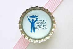 Fisherman Light Blue Bottle Cap Magnet  mens gifts by CherryCute, $1.60