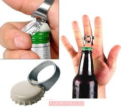 Stainless Steel Metal Finger Thumb Ring Bottle Opener Bar Beer Useful Tool in Collectibles, Breweriana, Beer, Openers Wine Bottle Opener, Beer Bottle Opener, Stainless Steel Bottle, Stainless Steel Rings, Punk Rock, Color Plata, Thumb Rings, Beer Bar, Drink Bottles