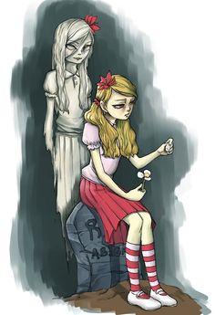 """""""Abigail! Come back! I'm not done playing with you."""" 굶지마 DLC 지른 기념으로 그린 그림, 웬디는 사랑입니다. 아비게일 겁나쎄요. 아비게일 짱짱걸, 그리고 이유는 모르겠지만 채색한게 미묘하게 깨져서 나와 수정후 재업"""