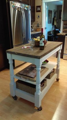 Mobile kitchen island, custom made, all solid wood construction, with metal castors, solid wood top - Kitchen - Best Kitchen Decor! Moveable Kitchen Island, Mobile Kitchen Island, Farmhouse Kitchen Island, Small Space Kitchen, Kitchen Islands, Small Kitchens, Small Spaces, Kitchen Counters, Kitchen Cabinetry