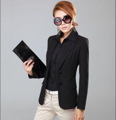 2014 slim women's fashion quality outerwear long-sleeve female suits casual short design black blazer ol woman blaser women $28.58