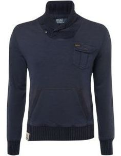 Men's Polo Ralph Lauren Shawl neck sweat, Navy.  A classic must-have for any guy's wardrobe.  Beautiful!