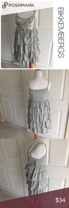 BIKKEMBERGS sequin and ruffle dress size S ♦️Excellent condition. No holes, stains or piling. Made in Italy                                             ♦️Material tag missing but likely rayon/cotton blend                                         ♦️Measurements:                                  ♦️Laying flat armpit to armpit: approximately 15.5 inches                                               ♦️Laying flat from the back of the neck to the bottom of the front hem is approximately 30 inches…